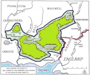 Territory under the control of the Border Irving Clan in the reign of James VI